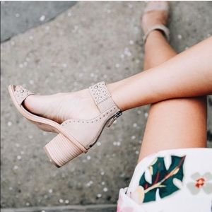 Frye Brielle Studded Deco Wood Ankle Strap Heels
